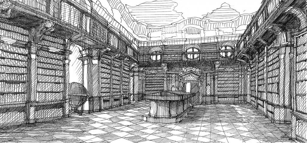 black and white drawing of a library
