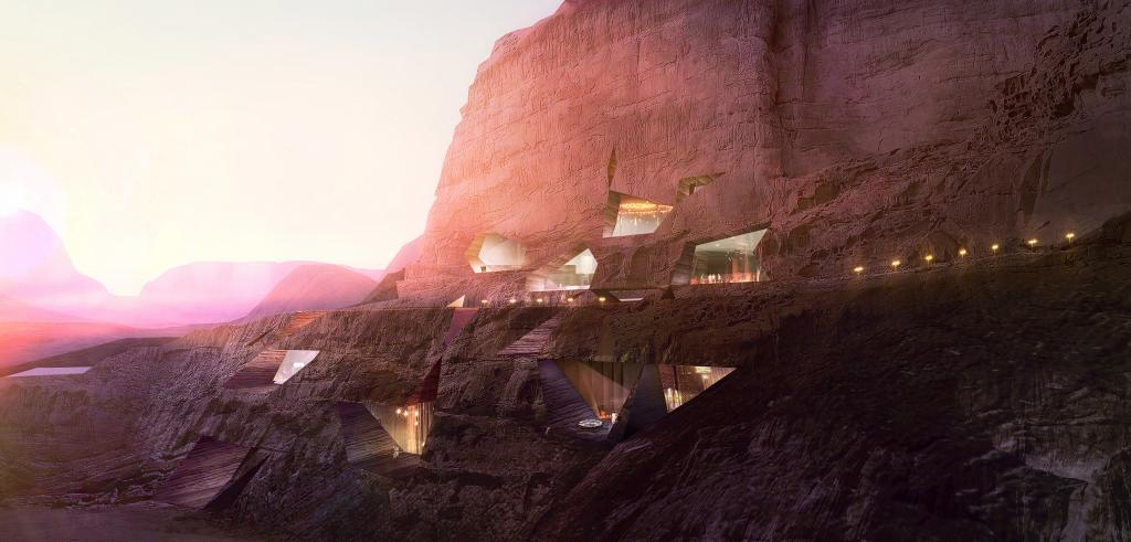 Rooms of glass set within cliff wall
