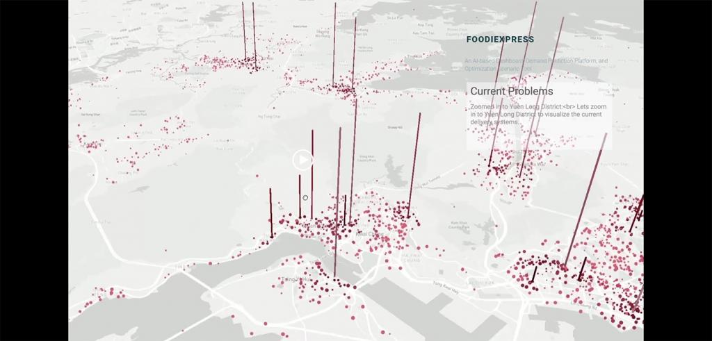 red dots and spikes on a gray map
