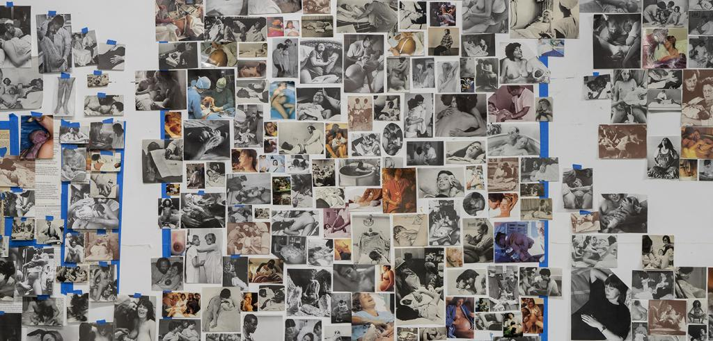 A collage of photographs of women at various stages giving birth.