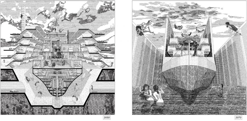 Two detailed engravings of sea-going ships in cross section floating on water with figures in the water and leaning over a wall