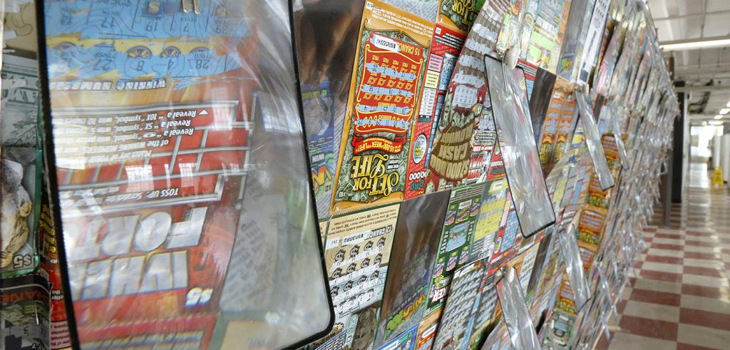 wall covered with lottery tickets