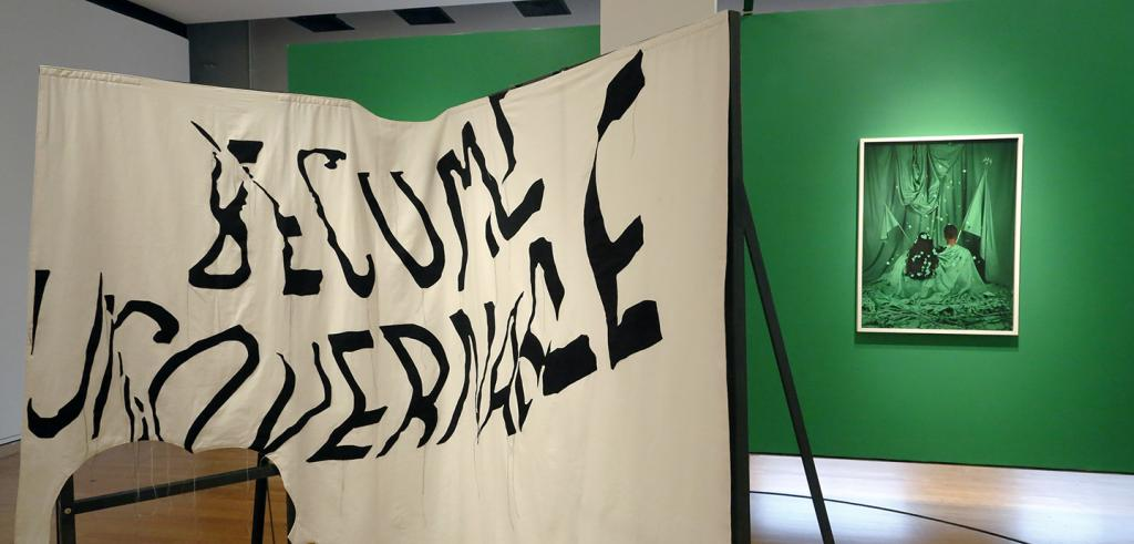 A cloth banner in front of a green wall with a white framed image in green.