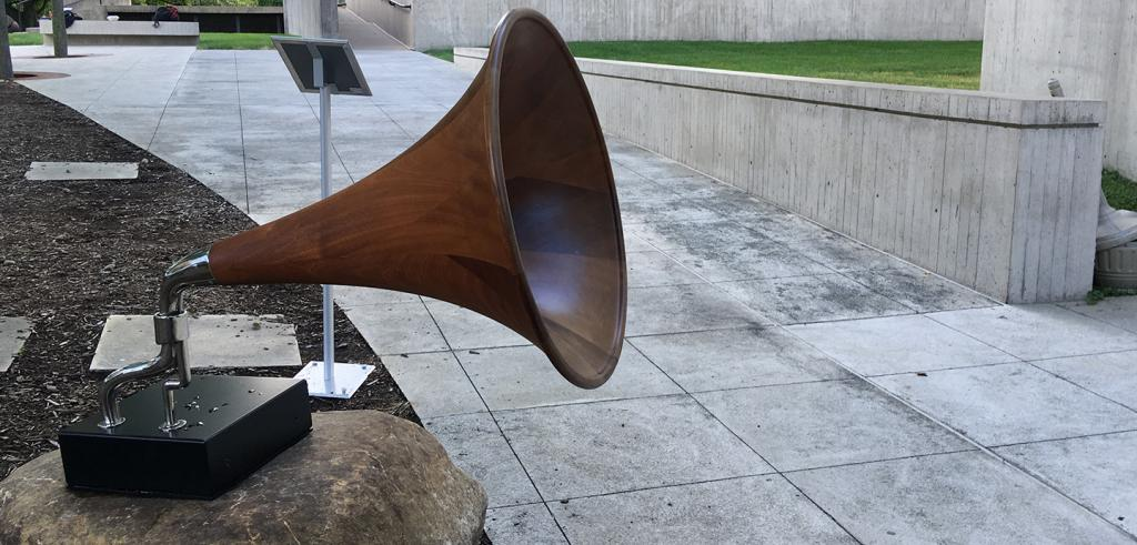 A picture of a wood gramophone sculpture