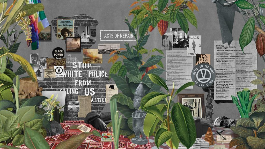 A collage of plants surrounding activist symbols and artifacts.