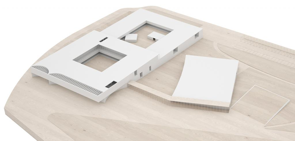 photographic documentation, ariel perspective of a wood and 3D-printed site model for competition entry