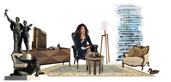 Woman with microphone superimposed in living room setting