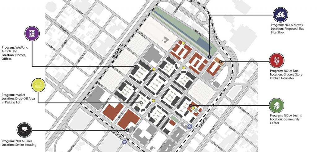 street diagram showing plans for development in a neighborhood in New Orleans