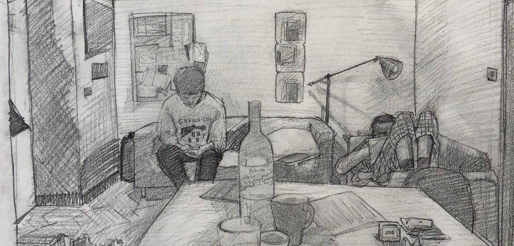 Black and grey sketch of two people sitting in an apartment reading on a couch and large chair with a table in front with cups and a wine bottle.
