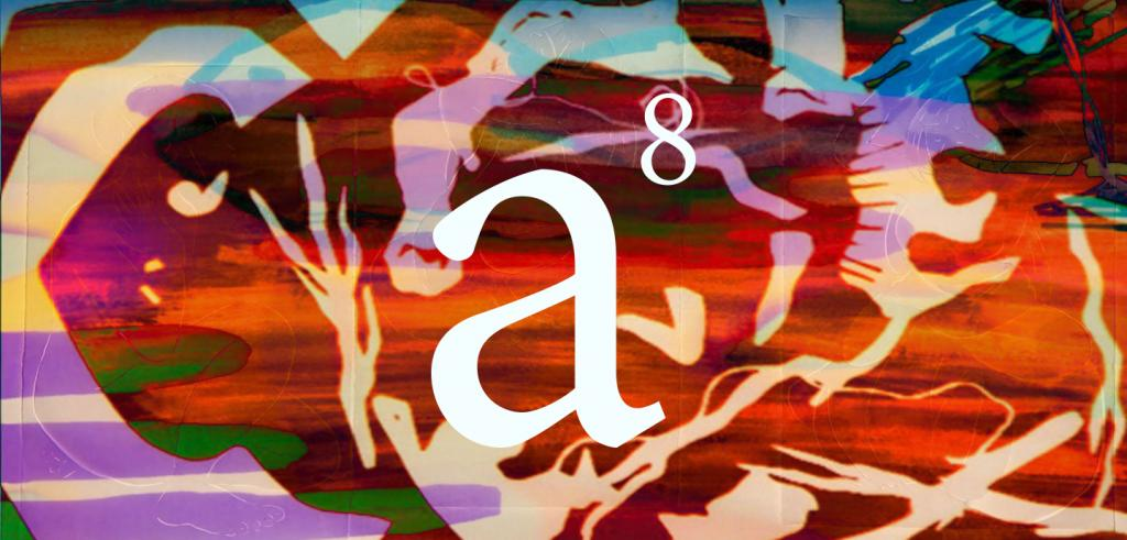 Multiple colors of blended orange, red, yellow, brown, purple, green and blue with cut out squiggle shapes with 'a' and '8' written on top.