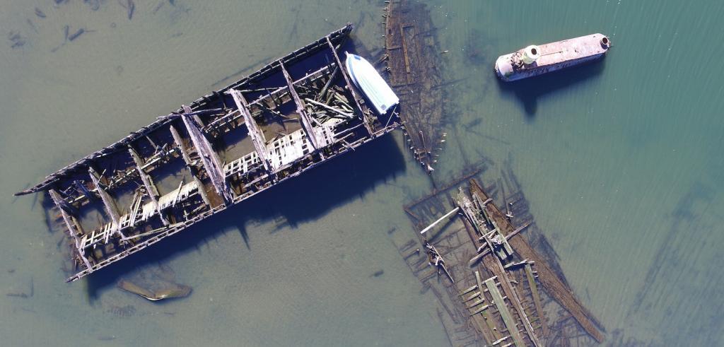 drone photo of a shipwreck
