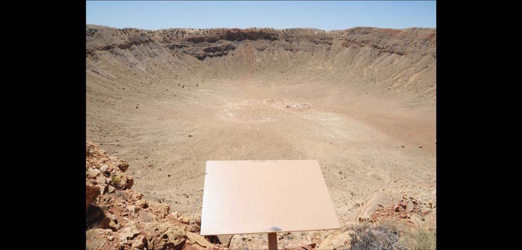 expansive soil depression, blue sky, a square plaque.