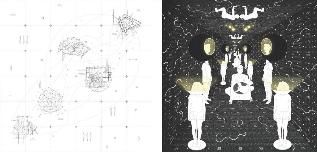 Two drawings with black and white lines and dark room with lamp people