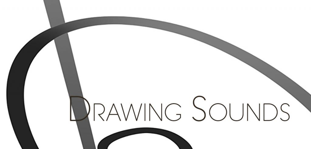 Two curved gray lines against a white background with a straight angled gray line behind the words 'Drawing Sounds'.