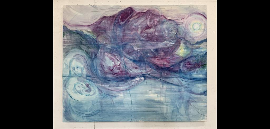 Blurry abstract shapes in pastel red, pink, and blue depict a sphere, mountains, human bodies, and faces.