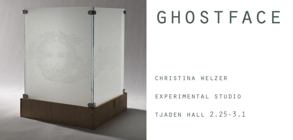 Two panes of glass with a sketch on them and the text Ghost face Christina Welzer Experimental studio Tjaden Hall 2.25-3.1