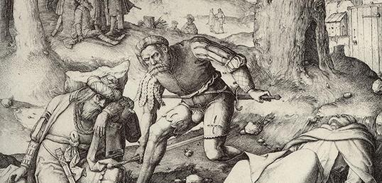 Engraving of two men in nature