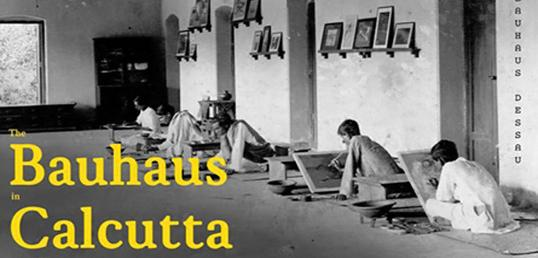 Photograph of painting class with the words Bauhaus Calcutta written on it