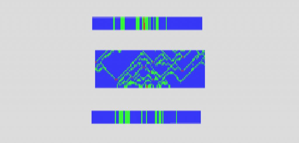 Three bright blue sections of a digital drawing with bright green designs and red dots in a blurred format.