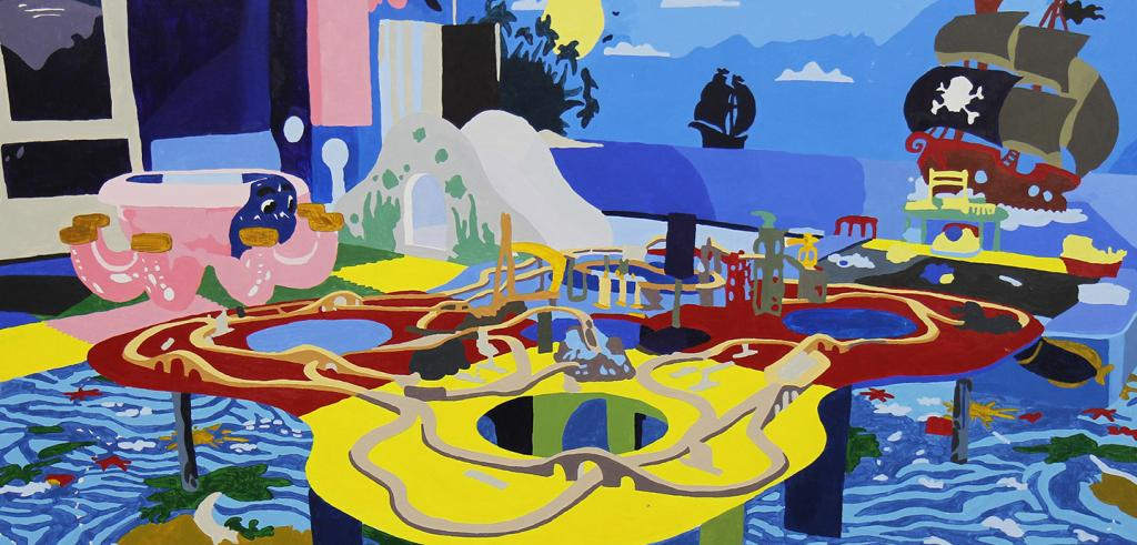 Painting of a child's play area with a train set on red and yellow table with a bright blue floor and ocean depicted wall with a pirate ship on it.