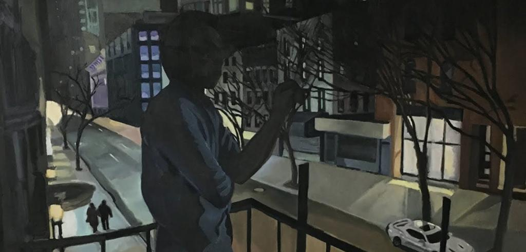 Painting of a shadowed figure on a balcony overlooking a street at night with surrounding buildings and a white car.