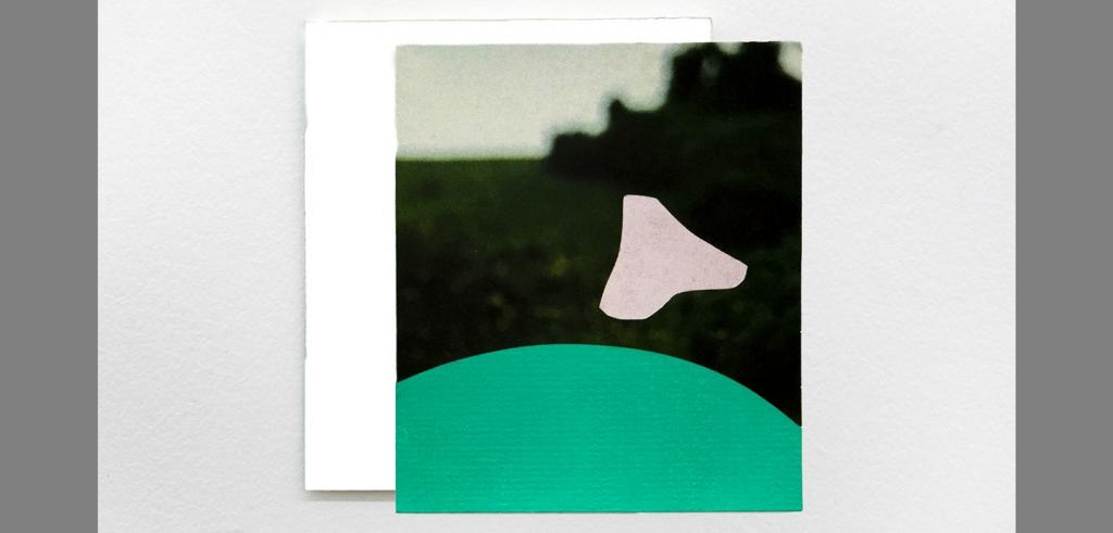 Square painting with a green dome on the bottom and abstract cream colored triangle shape in front of a blurry nature image.