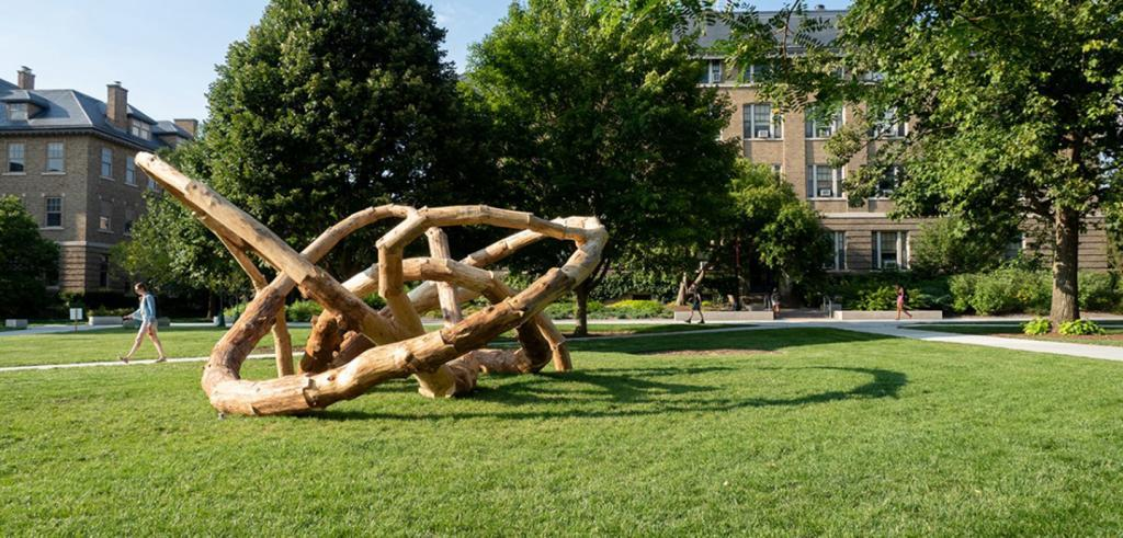 A knotted carved wood sculpture on green grass in front of buildings and trees