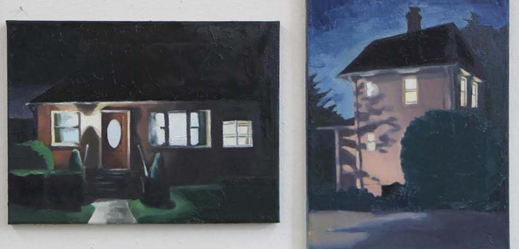 Paintings of two different houses at night with dark shadows.