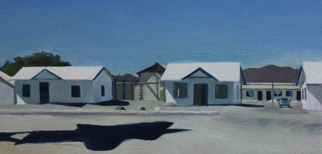 a painting of small houses in a row and a shadow on the ground