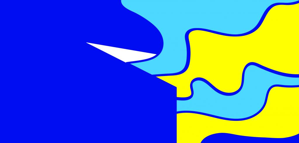 Bright blue background with abstract shapes on the right side with a small white triangle, light blue and yellow squiggles.