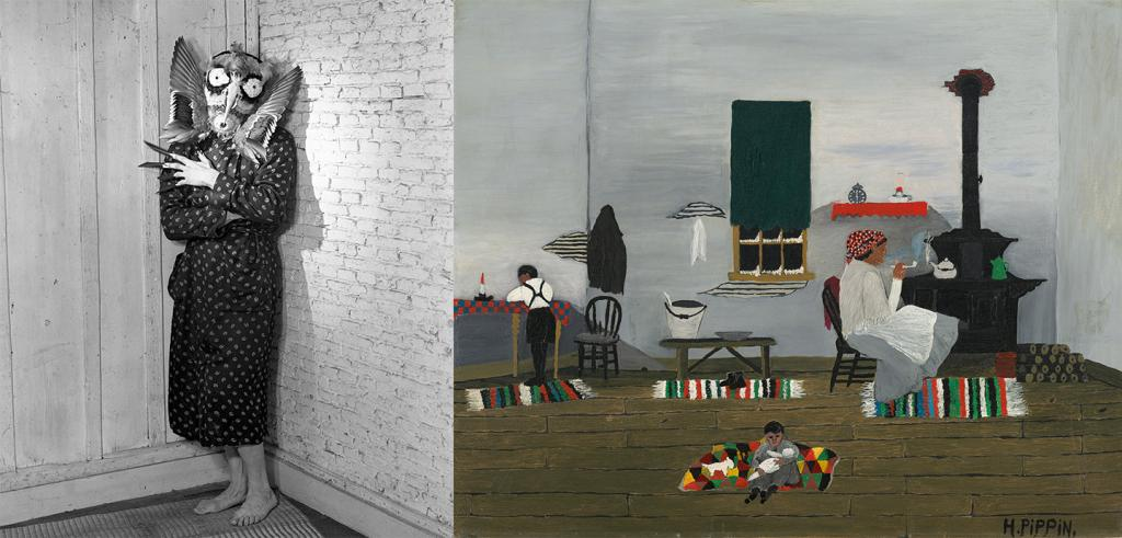 A person dressed in a cobra mask with the words Cobra and Its Legacy on the left, and an oil painting by Horace Pippin showing the interior of a home with multicolored rugs, a wood stove, and two children