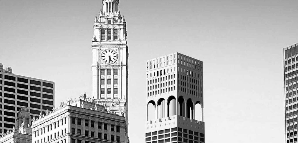 a gray scale rendering of the Chicago Skyline