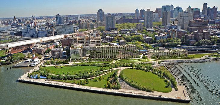 Bird's-eye view of the Brooklyn Bridge Park with skyline beyond