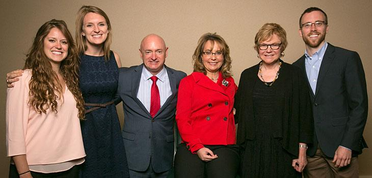M.R.P. students and CRP chair, Susan Christopherson, meet with Kelly and Giffords.