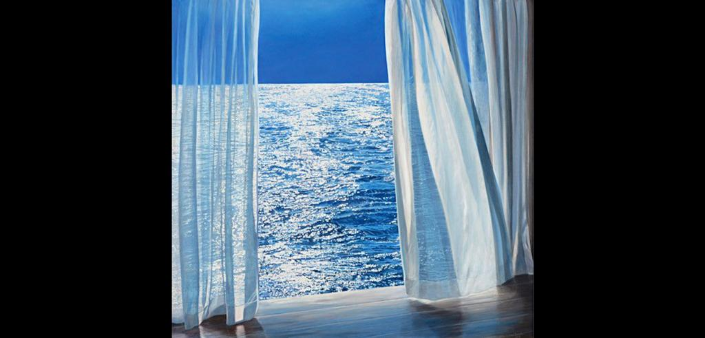 painting of an ocean as viewed through a window with curtains
