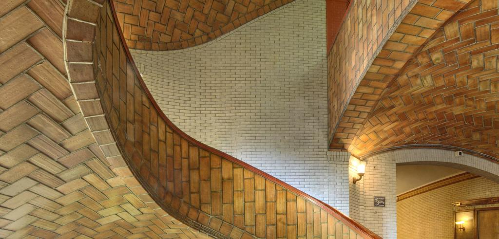 winding multi color brick staircase