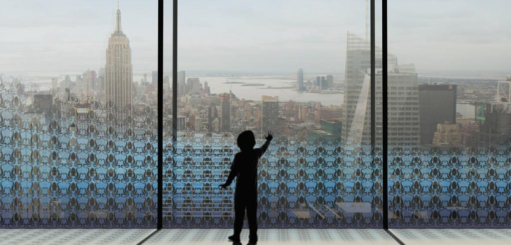 Rendering of child silhouette in window looking out at New York City view