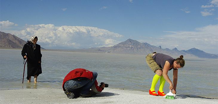 Researchers gathering specimins on the shore of Bonneville Salt Flats, Utah