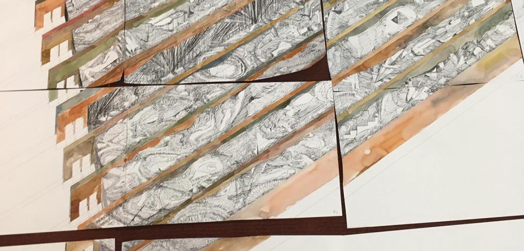 Detail of a watercolor and ink drawing that spans several sheets of paper arranged in a grid on a desk