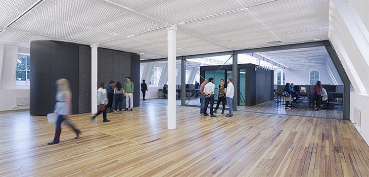View of third floor renovation with students