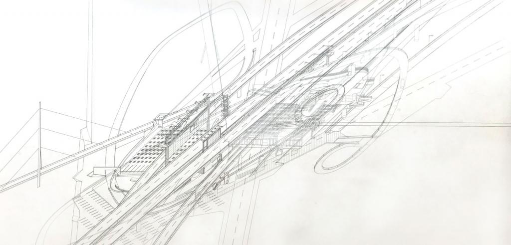 Pencil drawing of a bridge and highway arteries