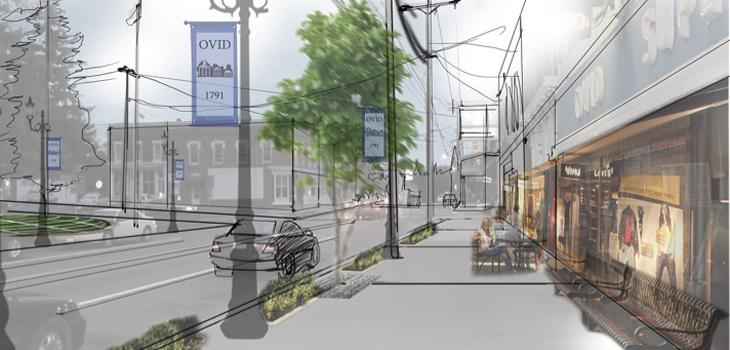 Rendering of re-visioned downtown Ovid