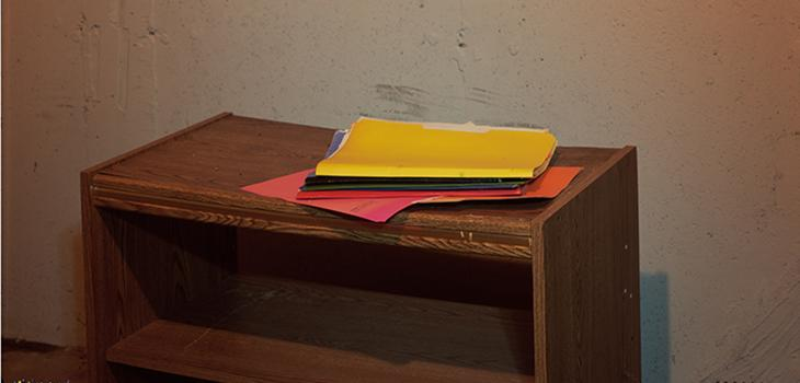 photograph of a shelf with file folders on it.