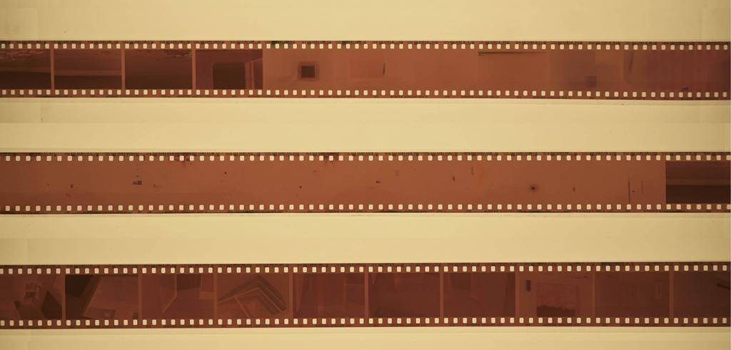 Three strips of 35mm negative film