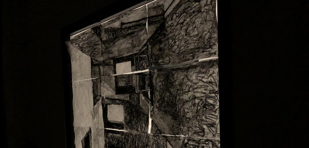 Dark hand drawing of the interior of a house