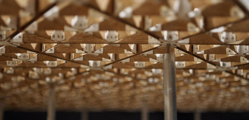 closeup of a lattice structure in a wooden model