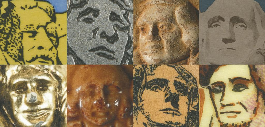 Eight images of sculpted faces