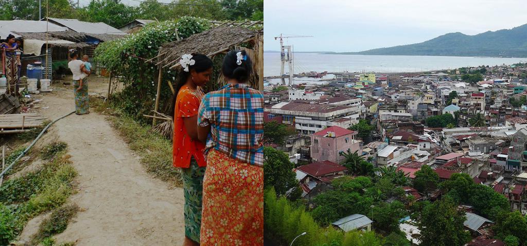 Yangon, Myanmar, left and Manado, Indonesia, right