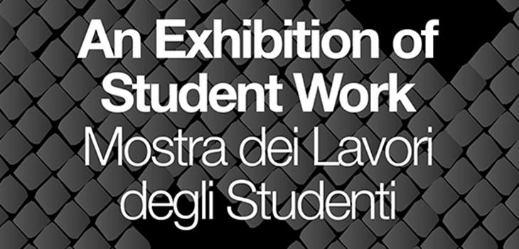 white text that says an exhibition of student work in english and italian on a background of grey tiles