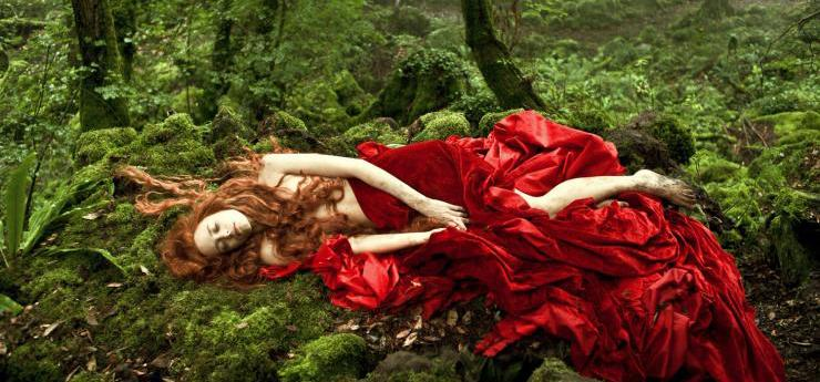 Woman in red dress from movie, Tale of Tales